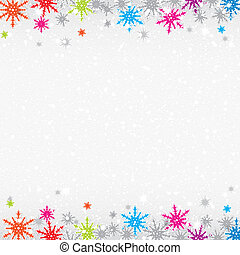 Colorful snowflakes Christmas background