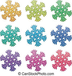 colorful snowflakes - vector set of colorful snowflakes