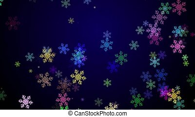Colorful snowflakes falling on a dark blue background