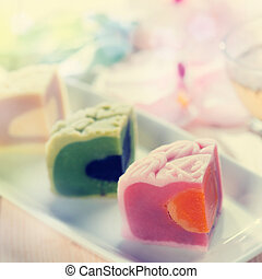 Colorful snowy skin mooncakes
