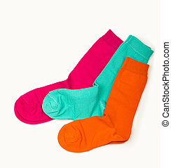 Colorful sock on the white background, top view