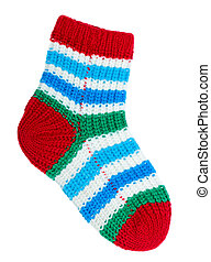 Colorful sock - One colorful sock isolated on white ...