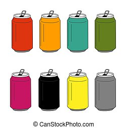 Colorful Soda Can Icon Set