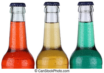 Colorful soda drinks in bottles isolated - Colorful soda...