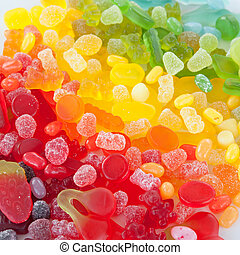 Colorful soft candy in rainbow colors background
