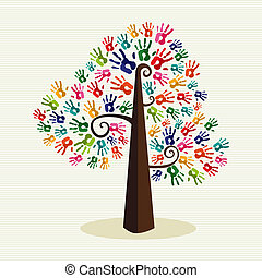 Multi-ethnic colorful hand prints tree over stripe pattern background. Vector file layered for easy manipulation and custom coloring.