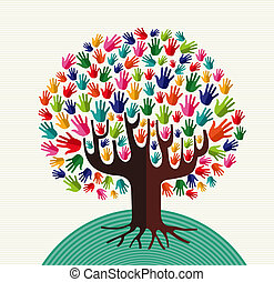 Colorful diversity tree hands illustration over stripe pattern background. Vector file layered for easy manipulation and custom coloring.