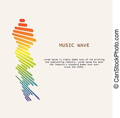 Colorful sound waves background. Isolated design symbol.