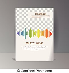 Colorful sound waves banner. Isolated design symbol.