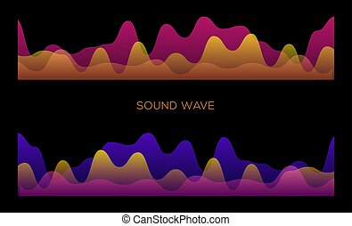 Colorful sound waves on black background set, audio player, equalizer