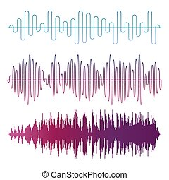 Colorful sound waves vector isolated on white background