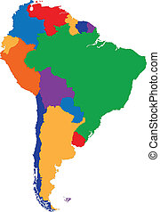 Colorful South America map with country borders