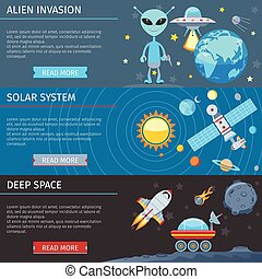 Colorful Space And Astronomy Flat Banners Set