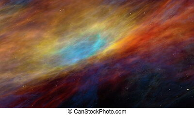 Colorful Space Nebula and Stars, Travelling Across the...