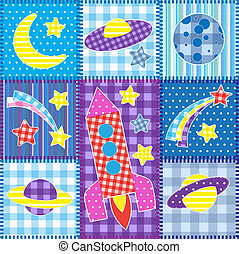Colorful Space patchwork.Seamless baby background