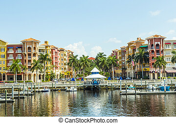 Colorful Spanish influenced buildings overlooking the water...
