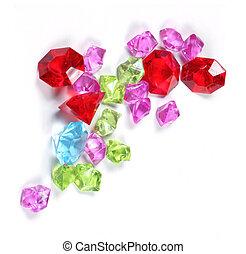 Colorful sparkling diamonds