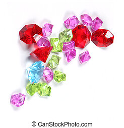 Colorful sparkling diamonds