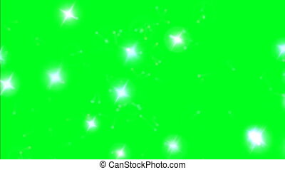 Colorful sparks on green screen