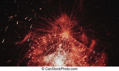 Colorful Spectacular multiple fireworks at holiday New Year...