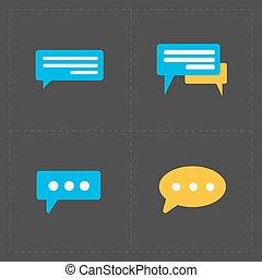 Colorful Speech bubble icons on black background. Vector illustr