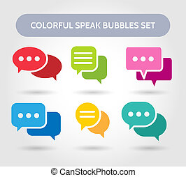 Colorful speech bubble signs