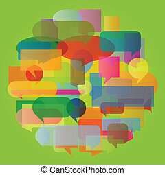 Colorful speech bubbles and balloons cloud illustration background vector