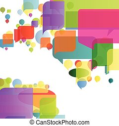 Colorful speech bubbles and balloon