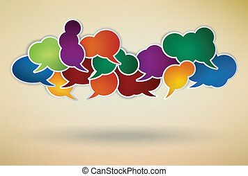 colorful speech bubbles composition