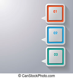 Colorful Speech Bubbles Three Options - Three colorful...