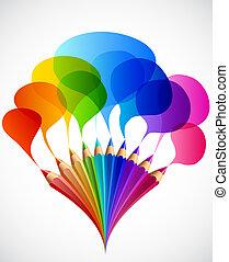 Colorful speech bubbles with art pencils. Vector