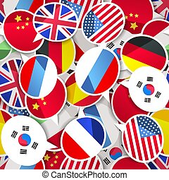 Colorful speech bubbles with flags, different language seamless pattern