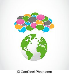colorful speech bubbles with globe