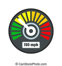 Colorful speedometer icon, flat style
