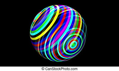 Colorful sphere spinning over black
