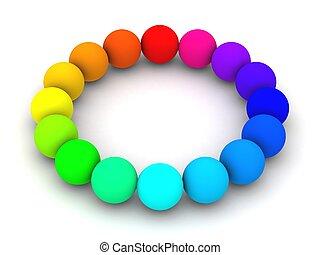 colorful spheres - 16 spheres in rainbow colors arranged in ...