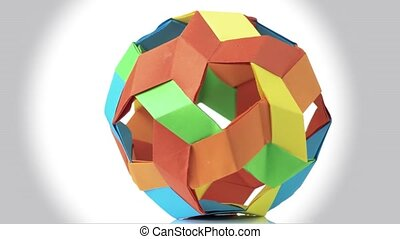 Colorful spherical origami ball.