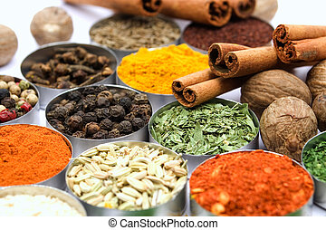 Colorful spices - Assortment of various aromatic spices used...