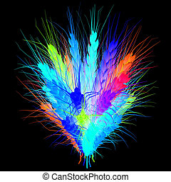 Colorful spikelets design. 3d render. On a black background.