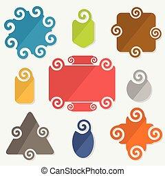 Colorful spiral design tags set