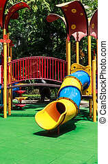 Colorful Spiral Tube Slide with Green Elastic Rubber Floor