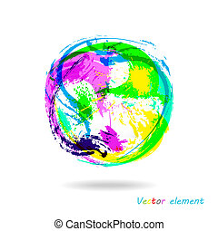Colorful Splash Ball. Abstract Brush Effect. Vector