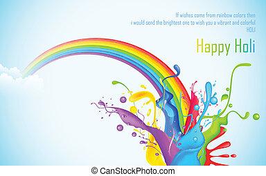 Colorful Splash in Holi Wallpaper - illustration of colorful...