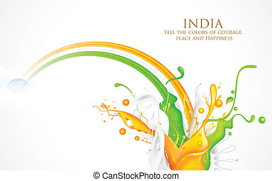 Colorful Splash of India Tricolor - illustration of colorful...