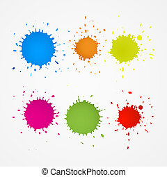 Colorful Splashes, Blots, Stains Set