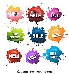 Colorful Splashes Set. Blots with New Title. Hot Sale and Hot Price - Top Product Stickers - Icons.