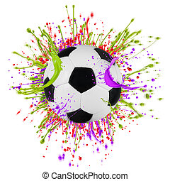 Colorful splashing with soccer ball isolated on white