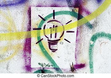 Colorful splatter lightbulb