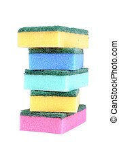 colorful sponge isolated on white background