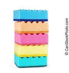 colorful sponges isolated on white